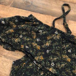 Dresses & Skirts - Floral black mini dress boho cold shoulder